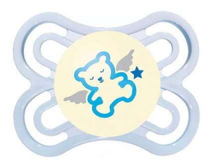Силиконовая пустышка ортодонтическая MAM Perfect Night мишка голубая