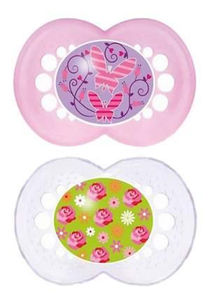 Силиконовая пустышка ортодонтическая MAM Original бабочки, цветы розовая