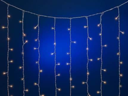 Световой занавес 3*3 м, 600 теплых белых микроламп, белый ПВХ Е70286