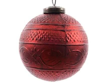 Винтажный шар Kaemingk Рисунки Востока 100 мм красный, стекло 644982