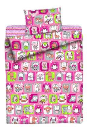Постельное белье Мона Лиза Спящий зоопарк 1,5-спальное розовое