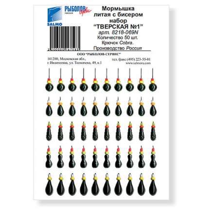 Набор мормышек литых с бисером Тверская №1, черные