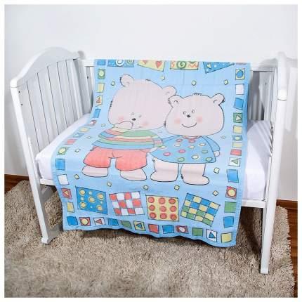 Одеяло детское ОТК байковое Два медведя 100х140 см цвет голубой, УТ0009800