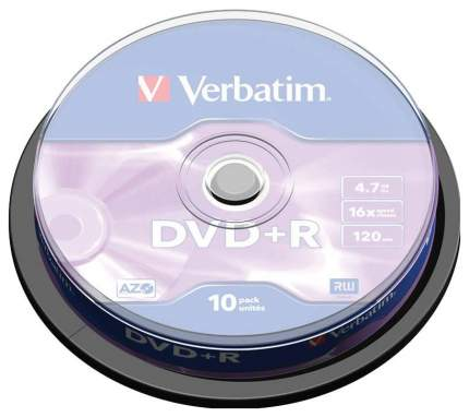 """Диск DVD+R 4,7ГБ 16x Verbatim """"43498"""", пласт,коробка, на шпинделе (10шт,/уп,)"""