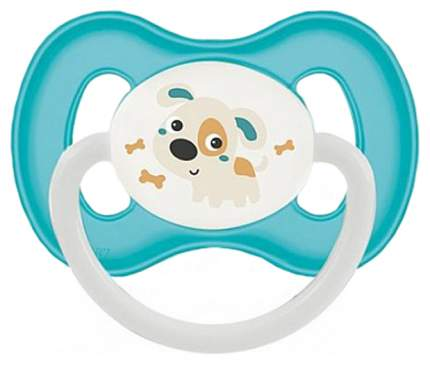 Пустышка симметричная Canpol Bunny & company силикон 6м+, цвет бирюзовый/собачка