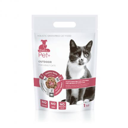 Сухой корм для кошек The Pet+ Cat Outdoor, беззерновой, свежая свинина, утка, 1кг