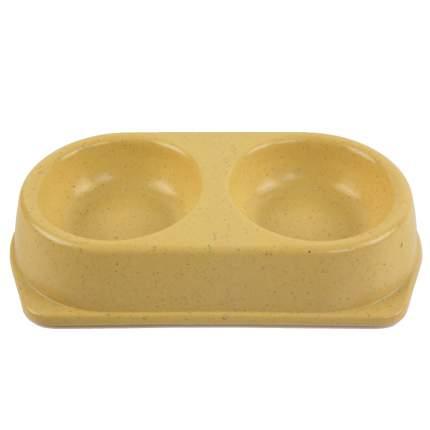 Миска для домашних животных Bobo, двойная, из бамбука, желтая, 180 мл