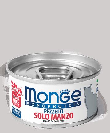 Консервы для кошек Monge Monoprotein, мясные хлопья из говядины, 80г