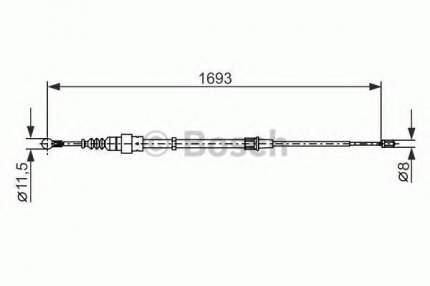 Трос cтояночного тормоза Bosch 1987477698