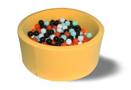Сухой игровой бассейн Ночной подсолнух желтый 40см с 200 шарами: черн, бел, оранж, мятн