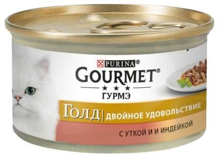 Консервы для кошек Gourmet Gold, утка, индейка, 24шт, 85г
