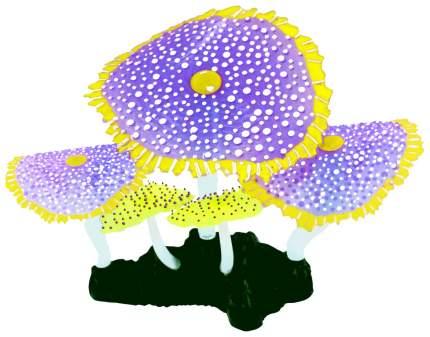Декорация для аквариума JELLY-FISH Морской Гриб светящийся, силикон фиолетовый 14х6,5х12см