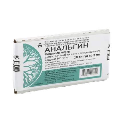 Анальгин ампулы 50% 2 мл 10 шт. Борисовский ЗМП