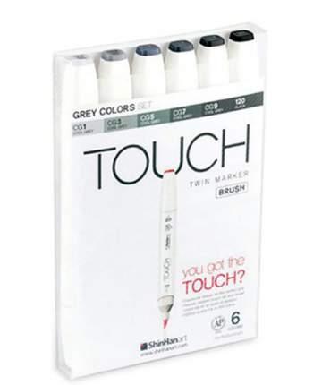 Набор двухсторонних спиртовых маркеров Brush Touch Twin 6 Шт Серые тона