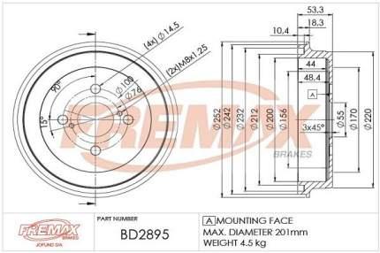 Тормозной барабан FREMAX BD-2895