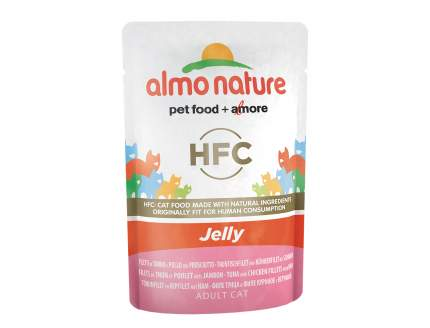 Влажный корм для кошек Almo Nature HFC Jelly, тунец, курица и ветчина, 55г