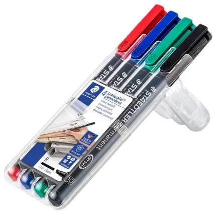 Набор Staedtler перманентных универсальных маркеров Lumocolor B, 4 цвета