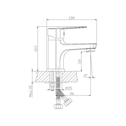 Смеситель для раковины Rossinka Silvermix S35-11 хром
