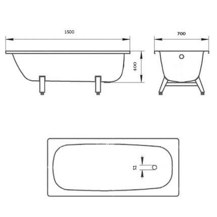 Стальная ванна ВИЗ Donna Vanna 150х70 без гидромассажа