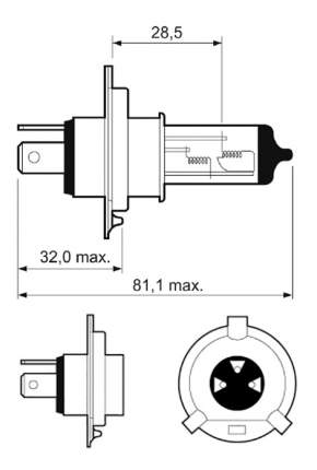 Лампа галогенная VALEO 60W P43t-38 32515