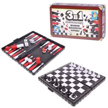 Настольная игра 1Toy 3 в 1 Шашки, шахматы, нарды магнитные Т52447