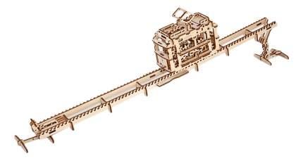 Сборная модель конструктор UGEARS Трамвай с рельсами