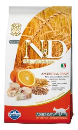 Сухой корм для кошек Farmina N&D, низкозерновой, треска и апельсин, 5кг