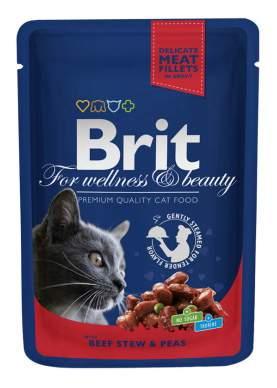 Влажный корм для кошек Brit Premium, говядина, 100г