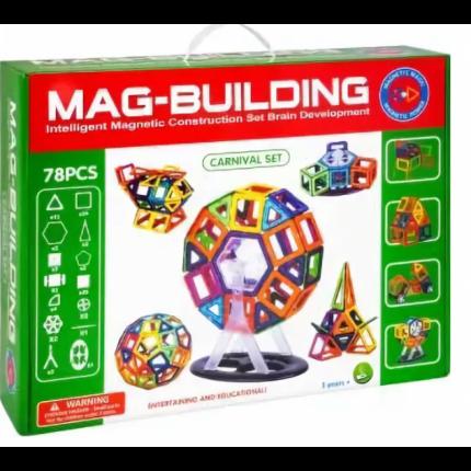 Магнитный конструктор Mag-Building 78 деталей, колеса и карусель