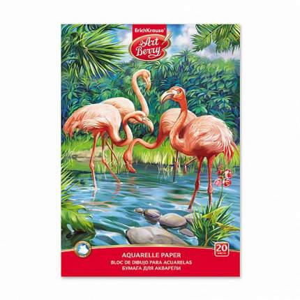 Альбом для рисования с бумагой для акварели на клею ArtBerry Фламинго, А4, 20 листов