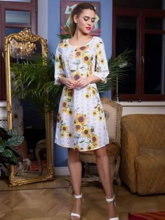 Платье женское Mia-Mia 16294 белое/разноцветное 3XL
