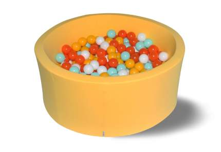 Сухой игровой бассейн Грейпфрут желтый 40см с 200 шарами: желт, бел, оранж, мятн