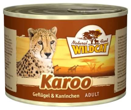 Консервы для кошек Wildcat, домашняя птица, кролик, 200г