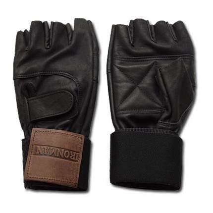 Перчатки для фитнеса и тяжелой атлетики Ironman с напульсниками черные S