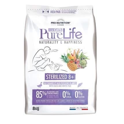 Сухой корм для кошек Flatazor Pure Life Sterilized 8+, для пожилых, утка, рыба, 8кг