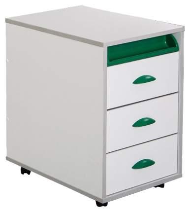 Тумбы выкатная на 3 ящика + выдвижной пластиковый пенал ТУВ-02W белый, зеленый