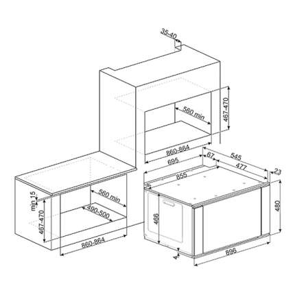 Встраиваемый электрический духовой шкаф Smeg SF9315XR Silver