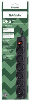Сетевой фильтр Defender DFS155, 6 розеток, 5 м, Black
