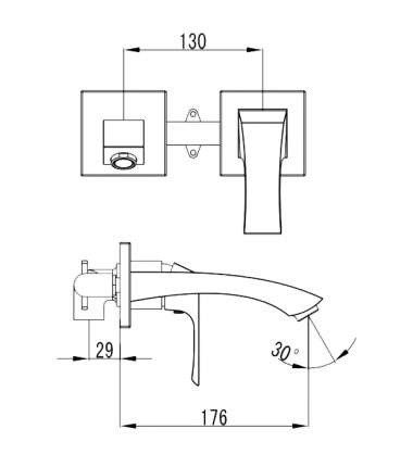 Смеситель для встраиваемой системы LEMARK Unit LM4526C серебристый
