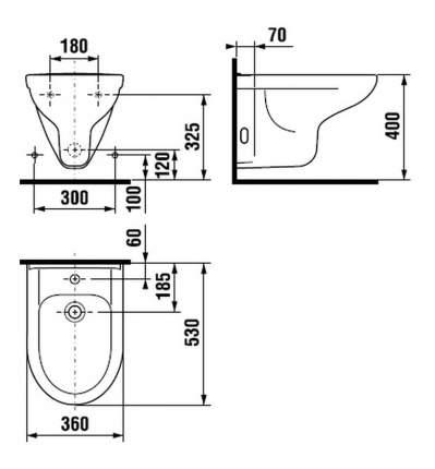 Биде подвесное JIKA Olymp 1 отв. д/смесителя белый (8.3061.1.000.304.1)