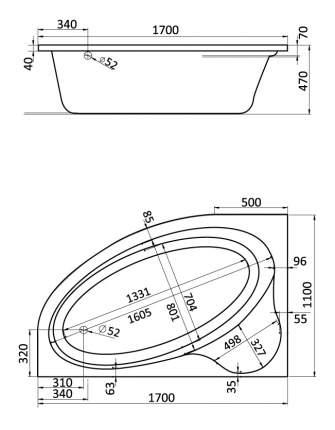 Акриловая ванна Santek Эдера 170х110 без гидромассажа левая