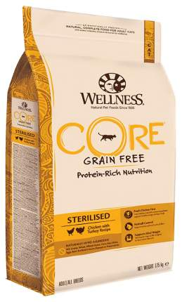Сухой корм для кошек Wellness Sterilised, для стерилизованных, курица, индейка,1,75кг