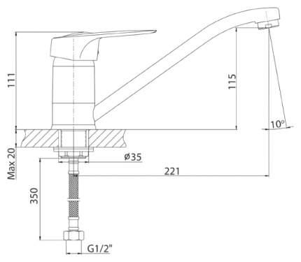 Смеситель для кухонной мойки KONNER KRONO KRN1100 хром