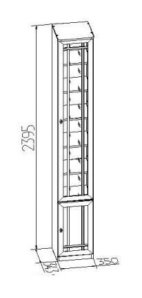 Шкаф книжный Глазов мебель Sherlock 31 GLZ_T0010707 35х34,3х239,5, орех шоколадный