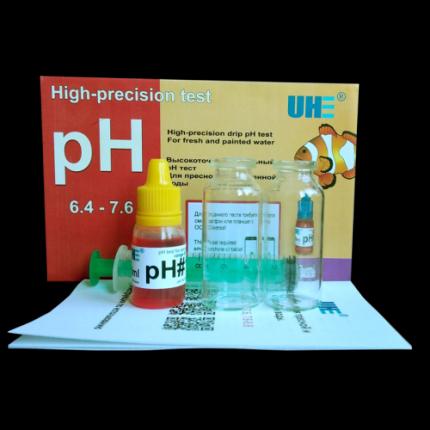 Тест на определение уровня pH в пресной аквариумной воде и водоемах UHE pH 6,4-7,6 test