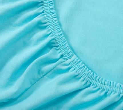 Простыня трикотажная на резинке (голубая) 90х200х20