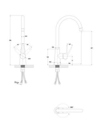 Смеситель для кухонной мойки Paulmark Holstein Ho212065-308 Черный