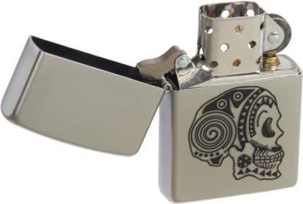 Бензиновая зажигалка Zippo №205 Tattoo Skull Satin Chrome