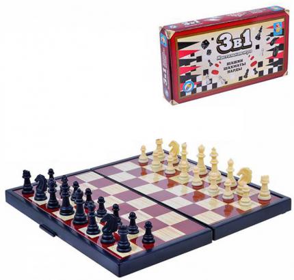 Настольная игра 1Toy 3 в 1 Шашки, шахматы, нарды магнитные Т52450