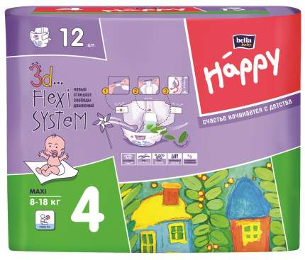 Подгузники Bella Baby Happy Maxi 4 (8-18 кг), 12 шт.